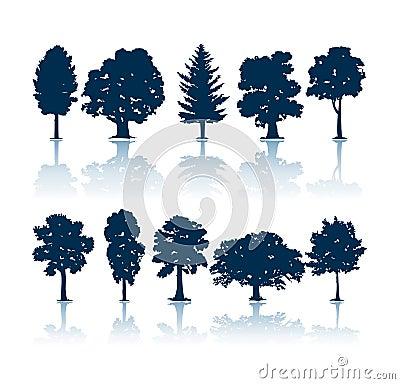 Free Trees Silhouettes Royalty Free Stock Photo - 1065045