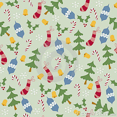 Trees and Stockings Seamless Pattern