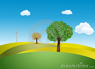 Trees and Wind turbine on a meadow