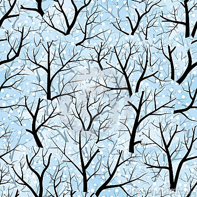 Free Trees. Winter (seamless Vector Wallpaper) Royalty Free Stock Photography - 4913317