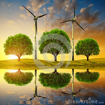 Free Trees With Wind Turbines On Meadow Royalty Free Stock Images - 68187179