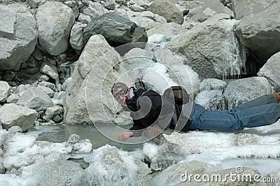 Trekker on Everest glacier(Nepal Himalaya)