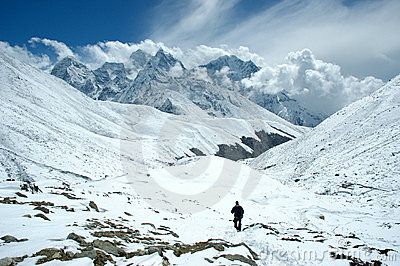 Trekker in the Himalaya
