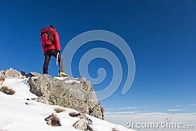 Trekker observes the horizon