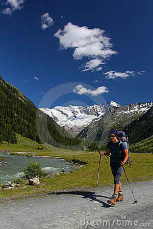 Trekkin in  mountain valley