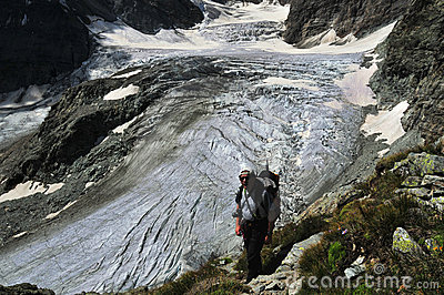 Trekking above the Tiefmatten Glacier