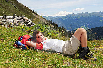 Trekking boy at rest