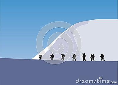 Trekking in a glacier