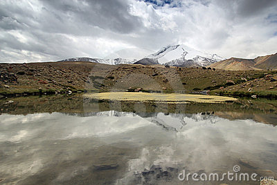 Trekking in Leh India with lakes along trek