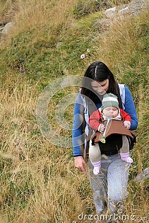 Trekking mother with baby