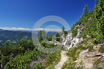 Trekking path in the Friuli Alps. Italy