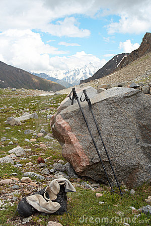 Trekking poles and the shoes