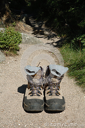 Trekking shoes on trail
