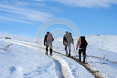 Trekking on snowy path on a sunny winter day