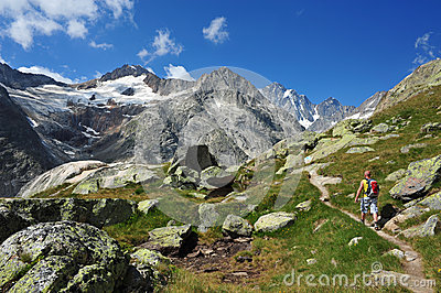 Trekking in Switzerland Editorial Photography