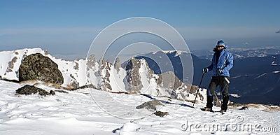 Trekking woman in winter