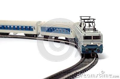 Trem e estrada de ferro do brinquedo
