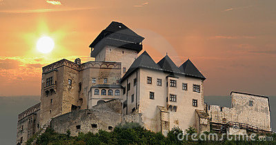 Trencin Castle at sunset