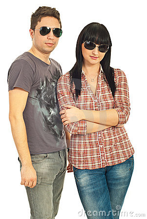 Trendy couple with sunglasses