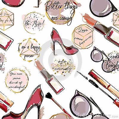Free Trendy Fashion Vector Wallpaper Pattern With Cosmetics, Shoes, Stock Photos - 107151483