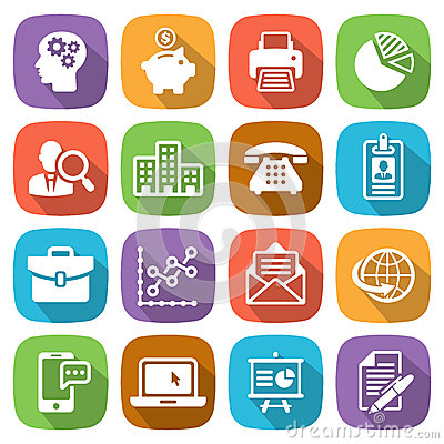 Trendy flat business and finance icon set 1 Vector Vector Illustration