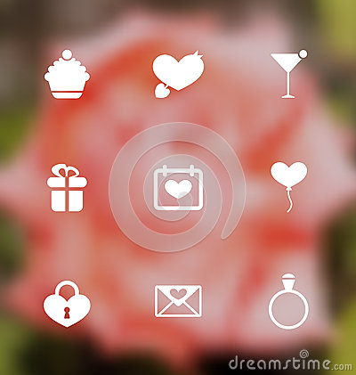 Free Trendy Flat Icons For Valentines Day, Blurred Layout Stock Photography - 49537722