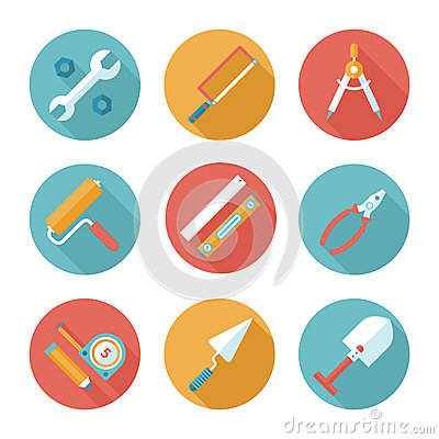 Free Trendy Flat Working Tools Icons. Vector Illustration Royalty Free Stock Photos - 43454618