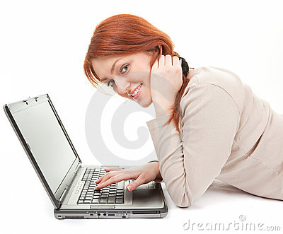 Trendy girl with computer