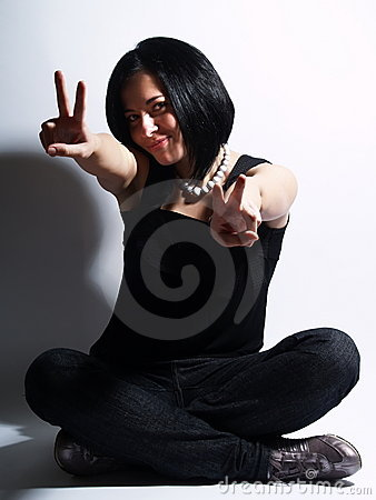 Free Trendy Girl Showing The Victory Sign Stock Image - 5103131