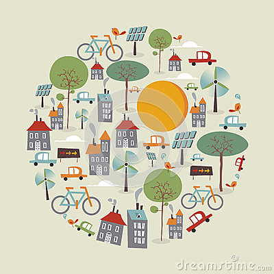 Free Trendy Go Green Icons Circle Stock Photos - 32018073