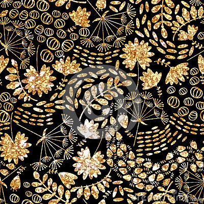 Trendy gold texture.Vector gold seamless pattern, floral texture with flowers and plants. Vector Illustration