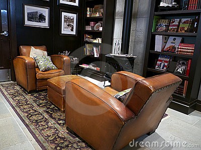 Trendy Library Room with two leather couches Editorial Photo