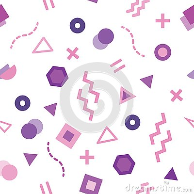Trendy Memphis style seamless pattern with cute geometric shapes colored in pastel purple Vector Illustration