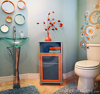 Trendy modern bathroom
