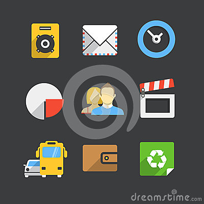 Trendy modern color web interface icons