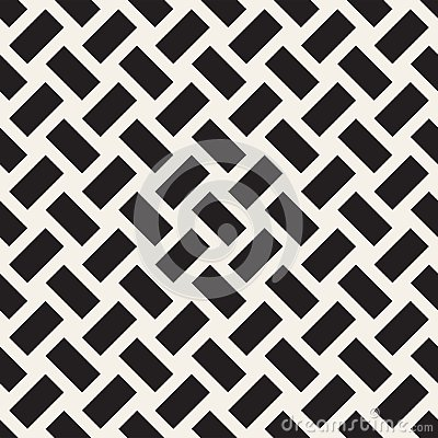Free Trendy Monochrome Twill Weave Lattice. Abstract Geometric Background Design. Vector Seamless Pattern. Stock Photos - 112118263