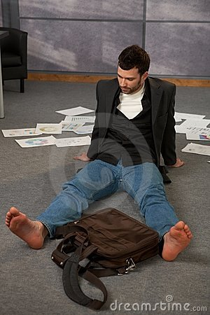 Trendy office worker on floor