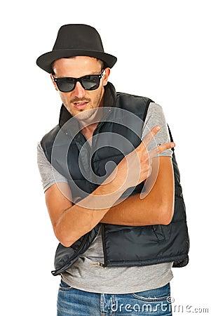Trendy rapper gesturing