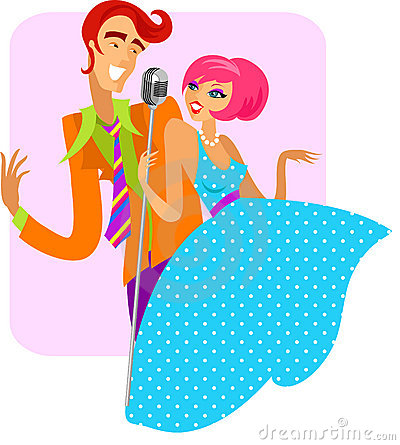 Free Trendy Retro Couple Of Singers - 2 Royalty Free Stock Photos - 13759938