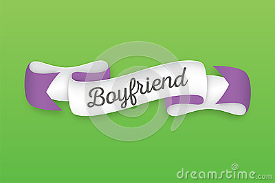 Trendy retro ribbon with text Boyfriend. Colorful banner with ri Vector Illustration