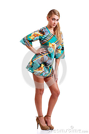 Trendy teenager in 70s dress