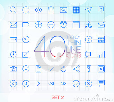 40 Trendy Thin Icons Set 2