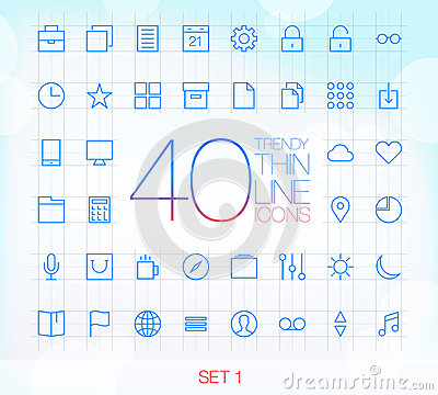 40 Trendy Thin Icons Set 1