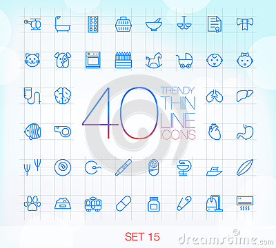 40 Trendy Thin Icons Set 15 Vector Illustration