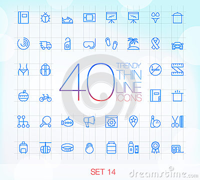 40 Trendy Thin Icons Set 14 Vector Illustration
