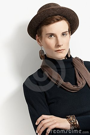 Trendy woman in hat