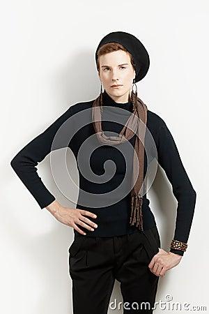 Trendy woman posing