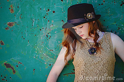 Trendy young girl in hat