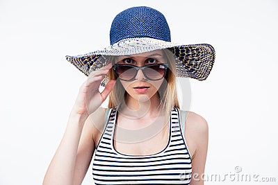 Trendy Young Woman In Hat And Sunglasses Royalty-Free ...