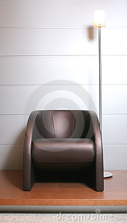 Trendys leather easy-chair with floor-lamp